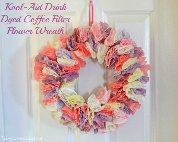 Kool-Aid Drink Dyed Coffee Filter Flower Wreath Craft #Shop