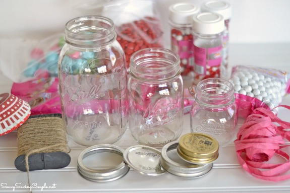 Valentine S Day Themed Candy Filled Mason Jars Diy Savvy Saving